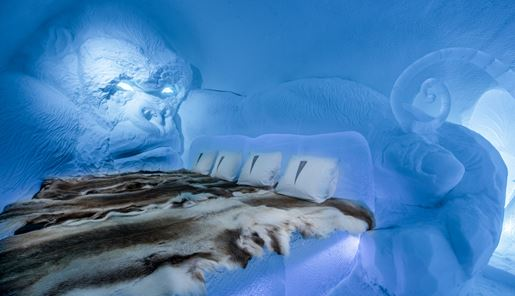 An ice room at the world famous Ice Hotel in Swedish Lapland