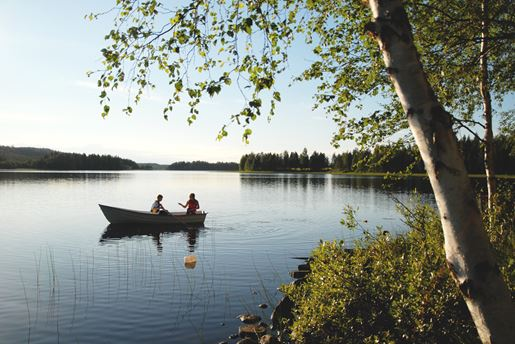 A rowing boat near Jämtland and The Bothnian Coast in Sweden in summer