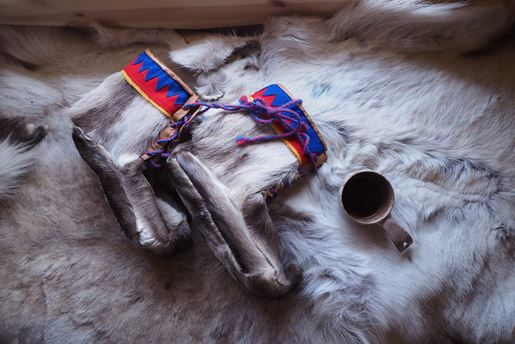 Traditional Sami boots made from reindeer skin and fur, Finnish Lapland