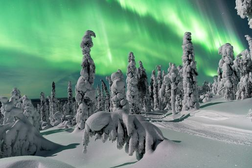 Northern lights in Rovanaiemi, Finnish Lapland