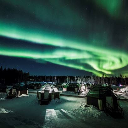 Arctic Snow Hotel under the Northern Lights