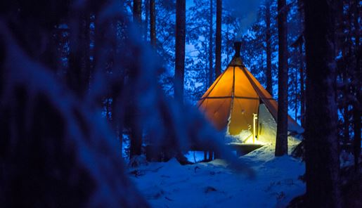 Outside in winter at Aurora Safari Camp, Swedish Lapland