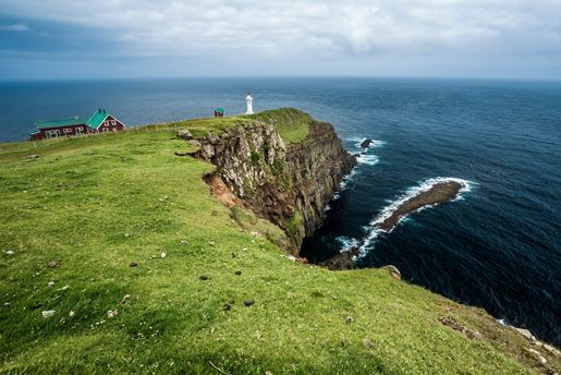 Akraberg lighthouse on Suduroy Island on the southernmost tip of the Faroe Islands