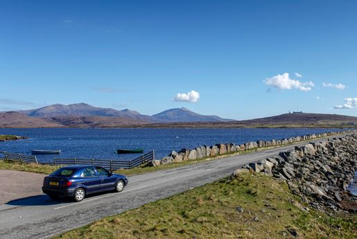 Causeway across Loch Bee on the Isle of South Uist, Outer Hebrides, Scotland