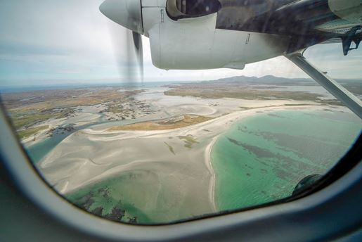 View of South Uist from the flight between Barra and Benbecula, Outer Hebrides, Scotland