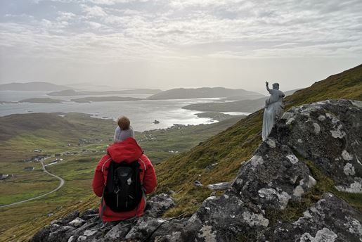 The view from the top of Heaval mountain on the Isle of Barra, Outer Hebrides, Scotland