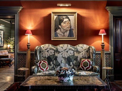 The Fife Arms, Braemar Reception With Lucian Freud Painting 'Child Portrait', Photo Credit Sim Canetty Clarke