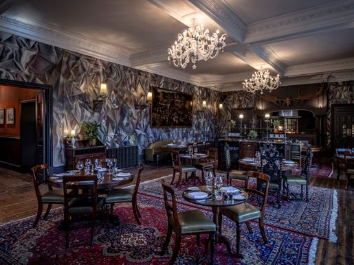 The Fife Arms, Braemar The Clunie Dining Room 01 With Walls Painted By Guillermo Kuitca 'Untitled' (2018), Photo Credit Sim Canetty Clarke