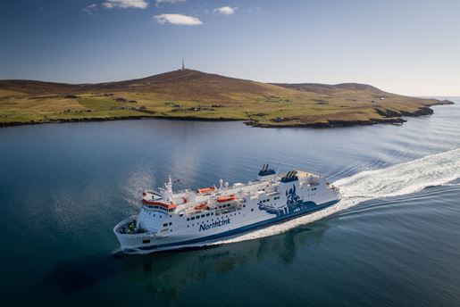 Northlink Ferries to Lerwick, passing the island of Bressay and Kirkabister Ness Lighthouse in Shetland, Scotland