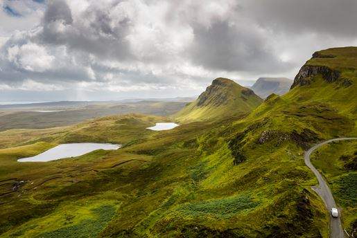 Driving the Quiraing on the Isle Of Skye in Scotland