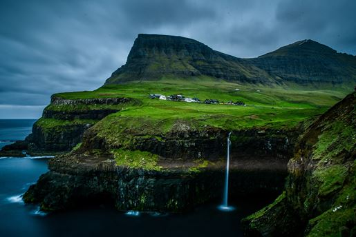 Gasadalur waterfall on the island of Vagar in the Faroe Islands