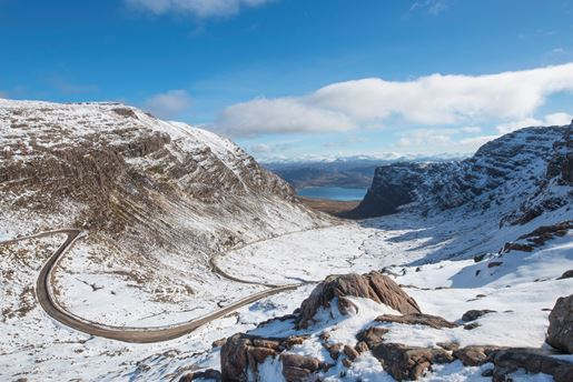 Bealach na Bà road through the mountains of the Applecross peninsula in the Scottish Highlands